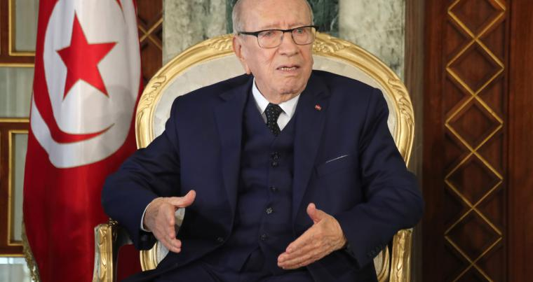 Not mincing words. Tunisian President Beji Caid Essebsi talks during interview with Al Arab and The Arab Weekly.                (Tunisian Presidency)