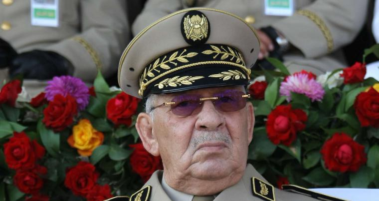 Algerian chief of staff Gen. Ahmed Gaid Salah presides a military parade in Algiers. (AP)