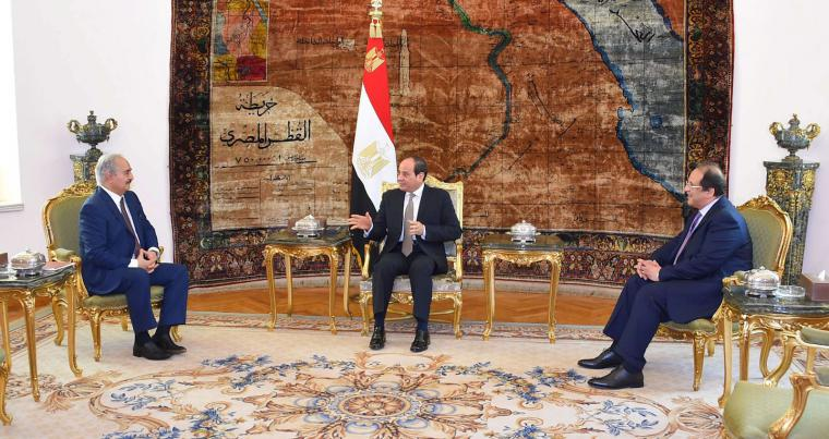 Libyan military commander Khalifa Haftar meets with Egyptian President Abdel Fattah al-Sisi at the Presidential Palace in Cairo, Egypt April 14, 2019. (Reuters)