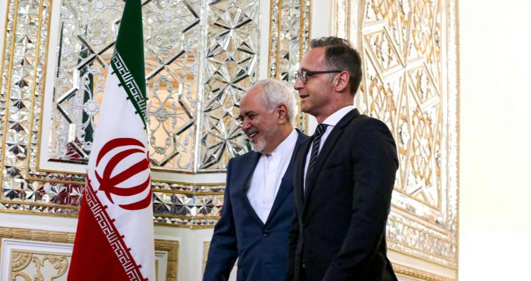 Iranian Foreign Minister Mohammad Javad Zarif (L) receives his German counterpart Heiko Maas in the capital Tehran on June 10, 2019. (AFP)