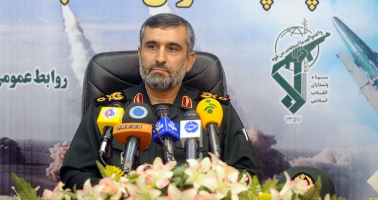 General Amir-Ali Hajizadeh, commander of aerial forces of Iran's elite Revolutionary Guards, gives a press conference in Tehran. (ISNA news agency via AFP)