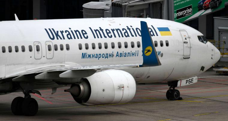 In this file photo taken on September 24, 2019 a Boeing 737-800 of the Ukraine International airline is seen at the airport in Duesseldorf, western Germany. (AFP)