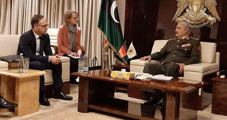 Libya's Khalifa Haftar (R) meets with German Foreign Minister Heiko Maas, in the Libyan city of Benghazi, January 16. (DPA)