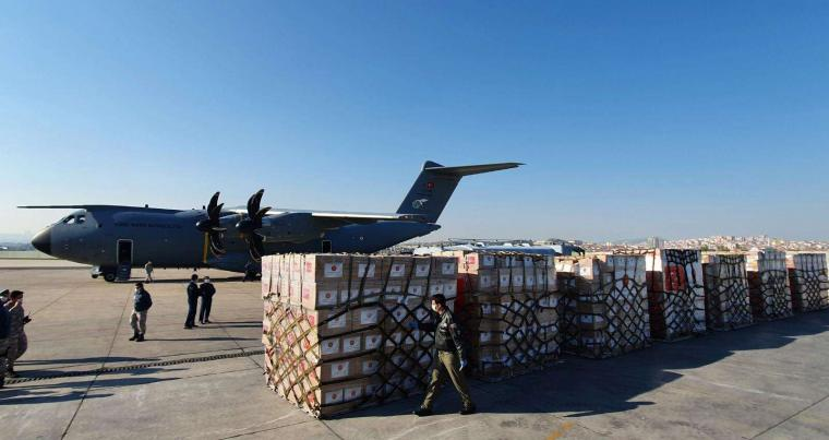 A Turkish military cargo plane carrying a shipment of medical supplies, part of a major aid campaign aimed at improving Turkey's relations with other countries. (Reuters)