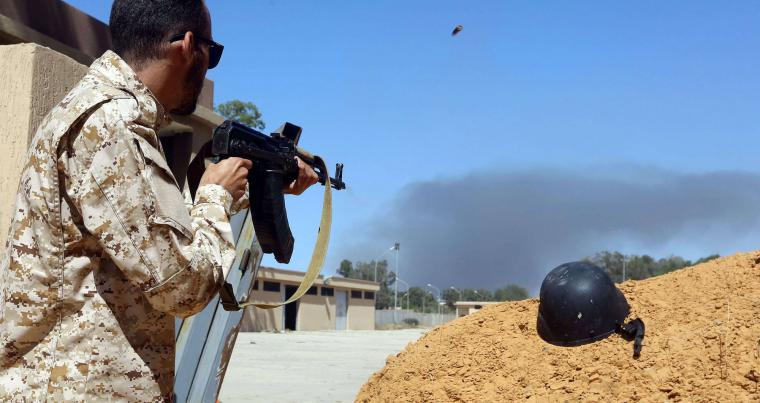A 2019 file picture of a fighter loyal to the Libyan Government of National Accord (GNA) at a position south of the Libyan capital Tripoli.  (AFP)