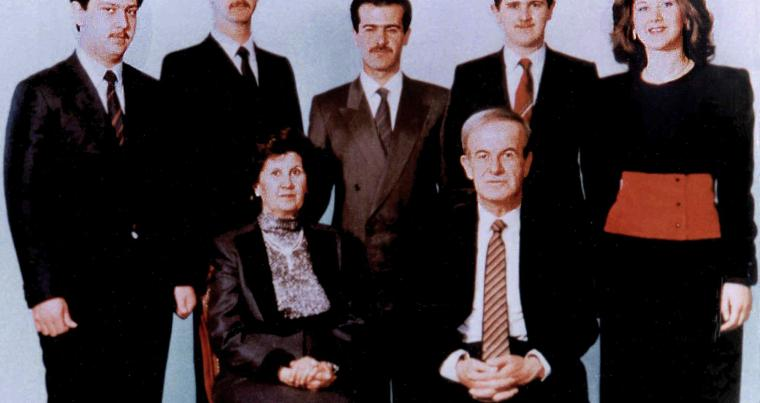 A family picture dated 1985 shows Syria's late president Hafez al-Assad and his wife Anissa Makhlouf (seated) and, behind them, from R to L their five children: Bushra, Majd, the late Bassel (1962-94), current president Bashar, and the youngest son, Maher. (AFP)