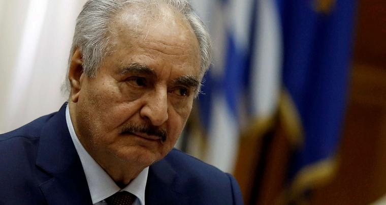 A file picture of Libyan commander Khalifa Haftar in Athens, Greece, last January. (REUTERS)