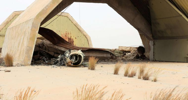 Watiya airbase, southwest of Tripoli, after recapture by GNA militants. last month. (REUTERS)