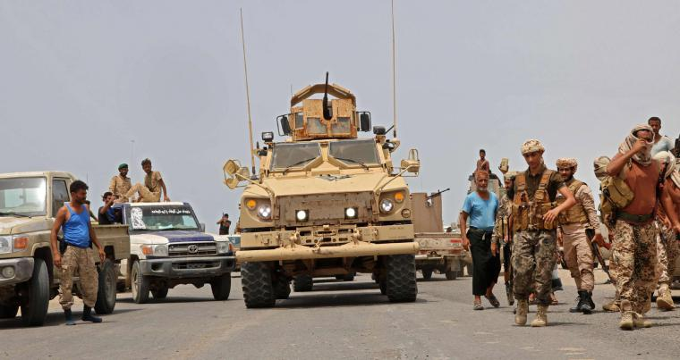 Fighters loyal to Yemen's separatist Southern Transitional Council (STC) in the southern Abyan governorate, June 24. (AFP)