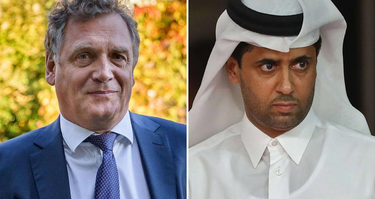 A combination of file pictures of Qatari sports executive Nasser Al-Khelaifi (R) and French former FIFA Secretary-General Jerome Valcke (L).  (AFP)