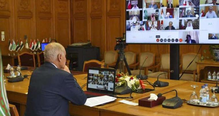 Arab League Chief Ahmed Abul Gheit chairing an urgent virtual foreign ministers meeting on Libya following Egypt's request, amid the COVID-19 pandemic, June 23 in the Egyptian capital Cairo. (AFP)