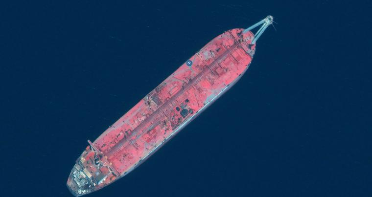 A satellite image provided by Maxar Technologies taken June 17, 2020, shows the FSO Safer tanker moored off Ras Issa port, in Yemen. UN officials and experts fear the tanker could explode or leak, causing massive environmental damage to Red Sea marine life. (AP)