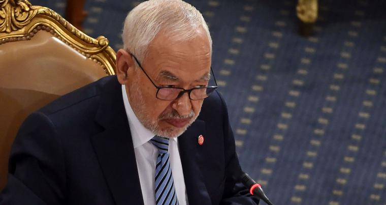 Tunisian Parliament Speaker Rached Ghannouchi at a plenary session. (AFP)