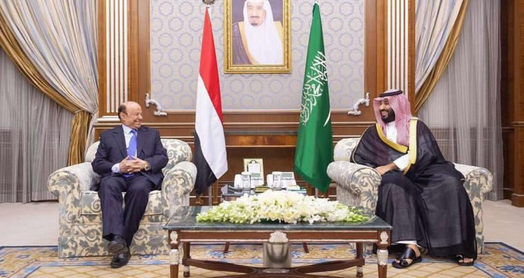 A file picture shows Saudi Crown Prince Mohammad Bin Salman Al Saud (R) meeting with Yemeni President Abd Rabbo Mansour Hadi, last November. (AFP)