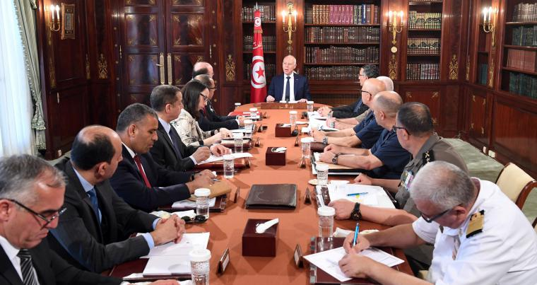 Special security meeting chaired by President Kais Saied, July 9. (Tunisian Presidency)
