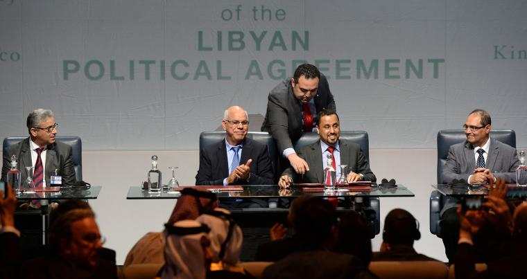 Signing ceremony of an agreement by Libyan factions on a unity government on December 17, 2015, in the Moroccan city of Skhirat. (AFP)