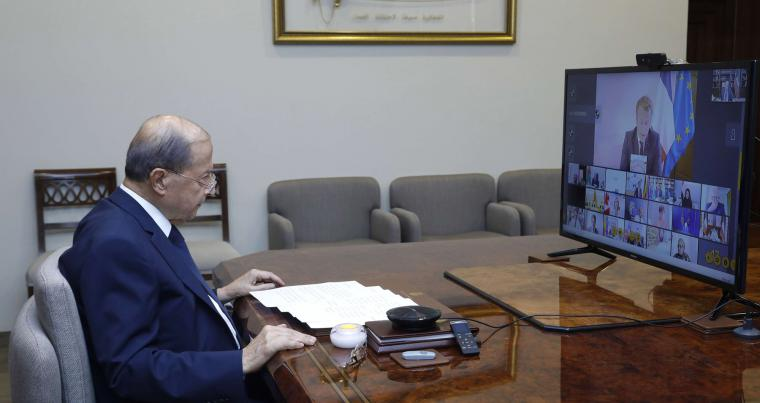 From the Baabda palace in Beirut, Lebanese President Michel Aoun participates in a teleconference meeting with world leaders on aid to Lebanon after the Beirut blast, August 9. (DPA)