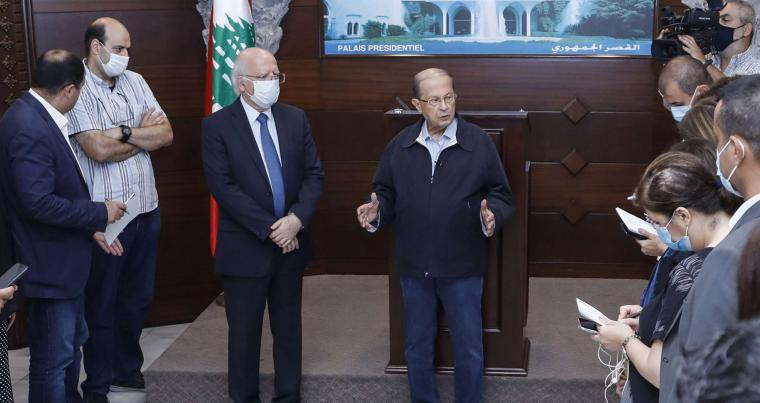 Lebanese President Michel Aoun (C) speaks during a press conference at Baabda Palace, in Beirut, August 7. (AFP)