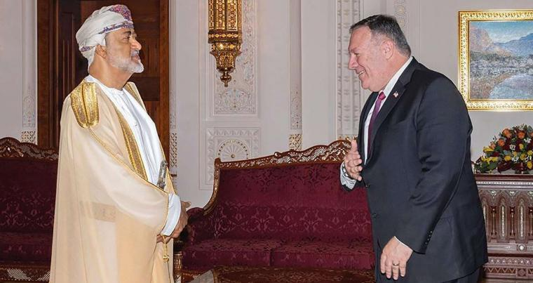 US Secretary of State Mike Pompeo meets with Oman's Sultan Haitham bin Tariq in Muscat, Oman, August 27, 2020. (AP)