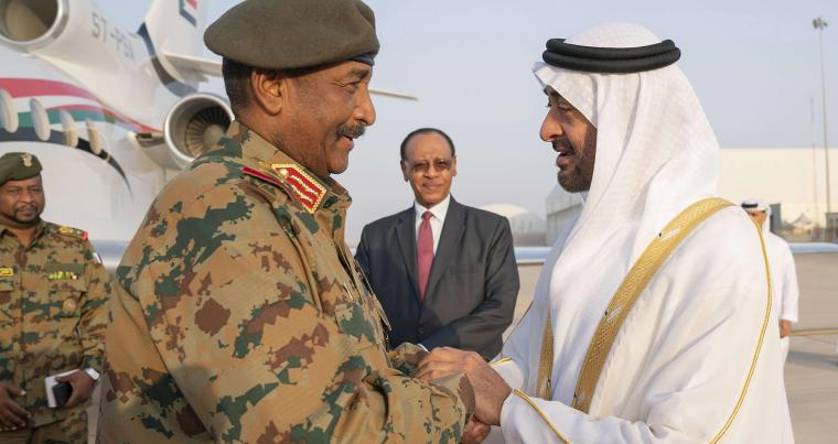 A 2019 file photo shows Sheikh Mohamed bin Zayed Al Nahyan, Crown Prince of Abu Dhabi and Deputy Supreme Commander of the UAE Armed Forces, right, receiving Lieutenant General Abdel Fattah al-Burhan, Head of transitional military council of Sudan, at the Presidential Airport in Abu Dhabi. AP
