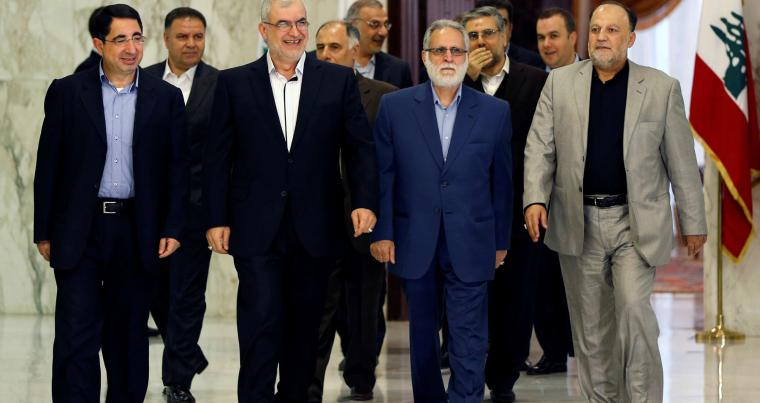 A file picture shows head of Hezbollah's parliamentary bloc Mohamed Raad (3rd L), accompanied with his parliamentary bloc, walks as he enters the presidential palace in Baabda, near Beirut. (REUTERS)