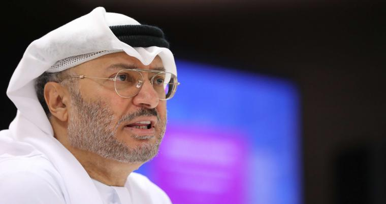 A file picture of Emirati Minister of State for Foreign Affairs Anwar Gargash speaking during a press conference in Dubai.