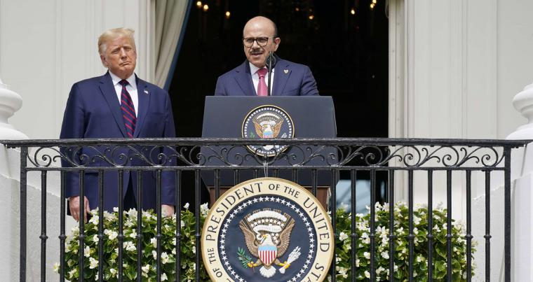 Bahrain Foreign Minister Khalid bin Ahmed Al Khalifa speaks next to US President Donald Trump, during the Abraham Accords signing ceremony on the South Lawn of the White House,  September 15. (AP)