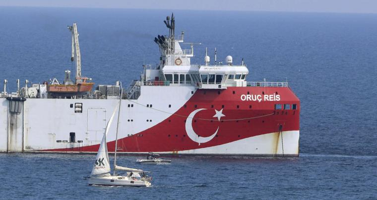 Turkey's research vessel, Oruc Reis anchored off the coast of Antalya on the Mediterranean, Turkey, September 13. (AP)