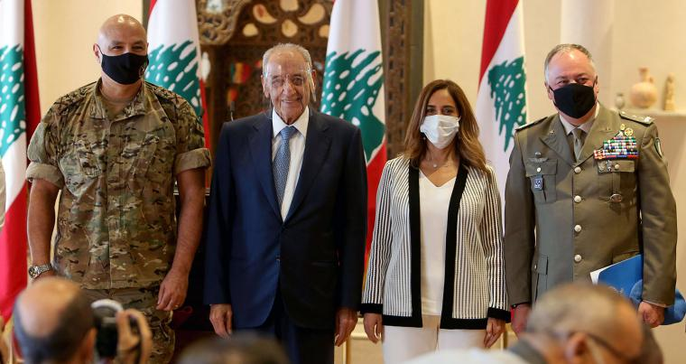 Lebanon's Army chief General Joseph Aoun, Lebanon's Parliament Speaker Nabih Berri, Lebanon's caretaker Defence Minister Zeina Akar and UNIFIL Head of Mission Major General Stefano Del Col at a news conference in Beirut, October 1. (Reuters)