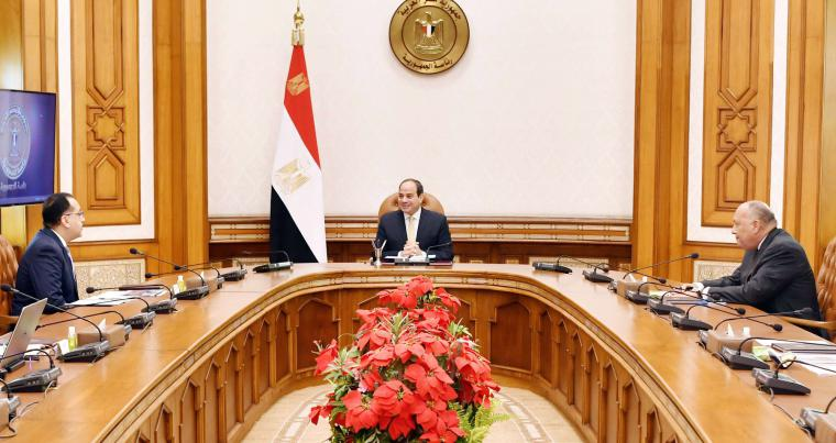 A file picture shows Egyptian President Abdel Fattah el-Sisi (C) chairs a recent meeting at Heliopolis Place with Egyptian Prime Minster Mostafa Kamal Madbouly (L) and Egyptian Foreign Minister Sameh Shoukry. (DPA)