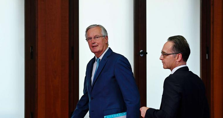 German Foreign Minister Heiko Maas (R) and the European Union's Brexit negotiator Michel Barnier leave after holding a joint press conference in Berlin, October 5. (AFP)