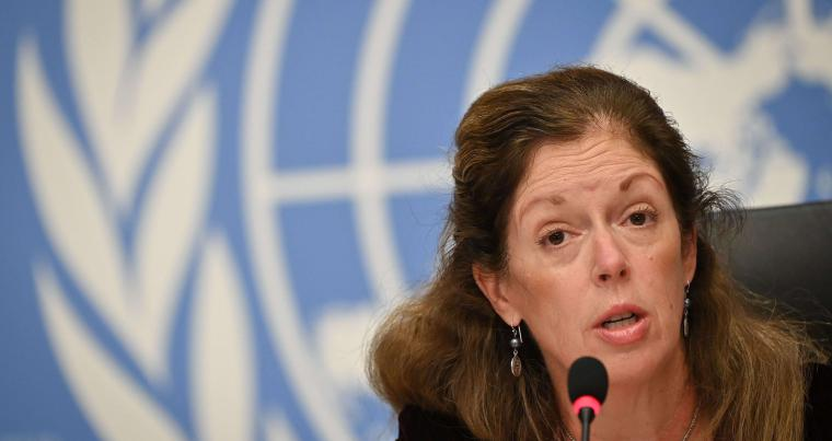 Acting UN Envoy to Libya Stephanie Williams attends a press conference on the Libya conflict on October 21. (AFP)