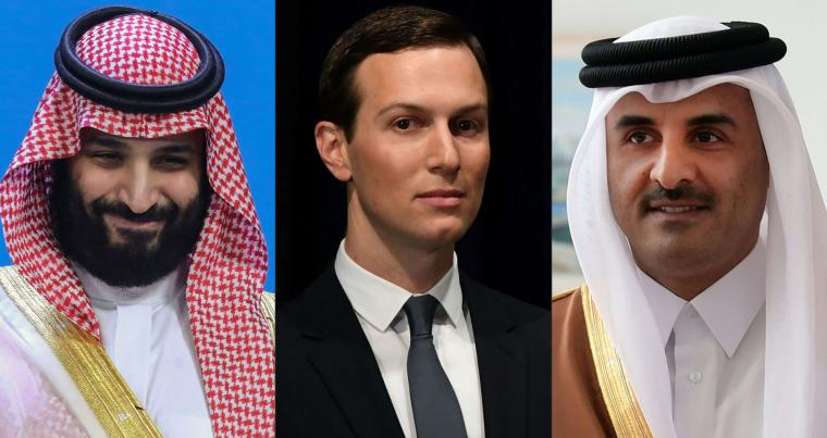 A combination picture of Saudi Arabia's Crown Prince Mohammed bin Salman, Senior White House Adviser Jared Kushner and Qatar's Emir Sheikh Tamim bin Hamad al-Thani . (AFP)