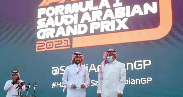 Saudi Sports Minister Prince Abdulaziz bin Turki (C) and Khalid al-Faisal, Chairman of the Saudi Automobile and Motorcycle Federation, attend a press conference in Jeddah on November 5. (AFP)