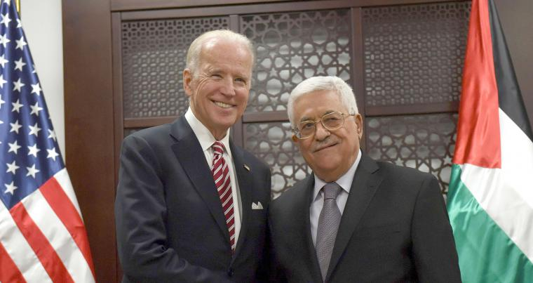 A 2016 file photo shows then-Vice-President Joe Biden (L) meeting with Palestinian President Mahmoud Abbas in the West Bank city of Ramallah. (REUTERS)