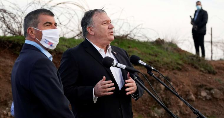 U.S. Secretary of State Mike Pompeo speaks alongside Israel's Foreign Minister Gabi Ashkenazi after in the Israeli-occupied Golan Heights November 19, 2020.  (REUTERS)