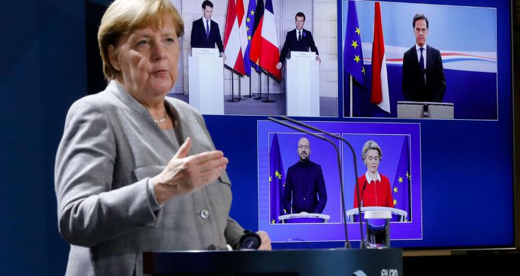 German Chancellor Angela Merkel attends a virtual meeting on security issues with French, Austrian, Dutch and EU leaders, from Berlin on November 10. AFP