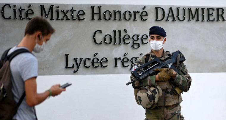 French soldier guards a school in Marseille, southern France. (AFP)