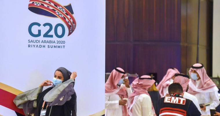 Saudi organisers prepare for the G20 nations summit in the Saudi capital Riyadh, on November 18, 2020. AFP