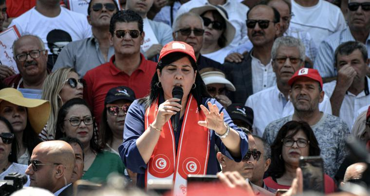 Tunisian leader of the Free Destourian Party (PDL) Abir Moussi speaks at a sit-in downtown Tunis, last July. AFP
