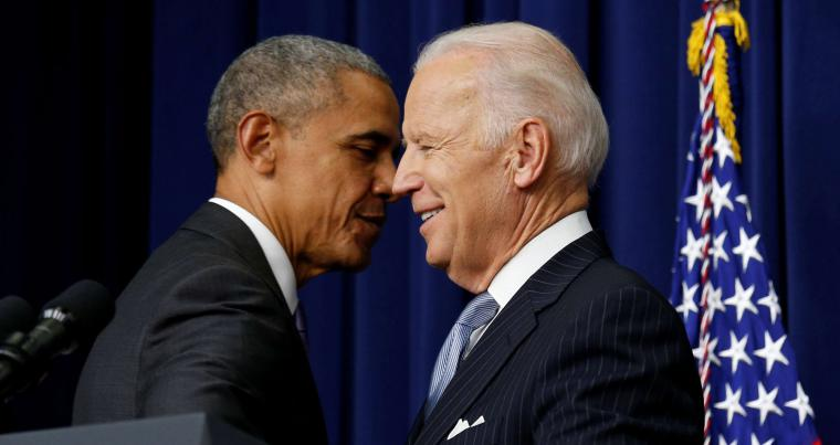 Then-US President Barack Obama and Vice President Joe Biden at the White House in Washington, December 13, 2016. (REUTERS)