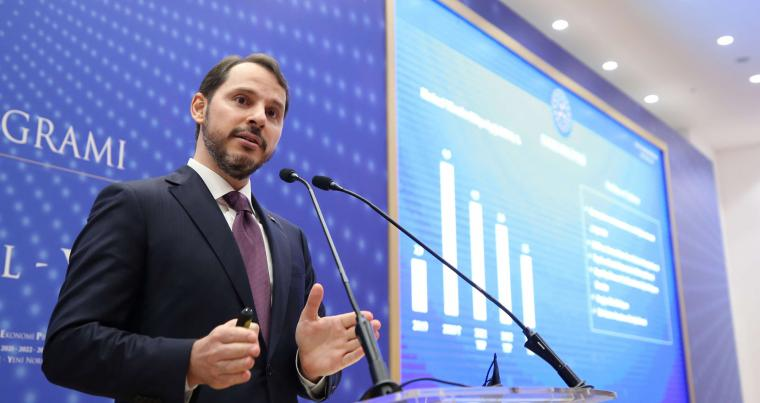 A file picture of former Turkish Finance Minister Berat Albayrak speaking in Istanbul, Turkey, September 29, 2020. (REUTERS)