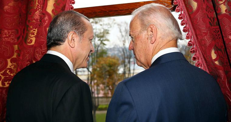 A 2014 file picture shows then US Vice-President Joe Biden (R) talking with Turkish President Recep Tayyip Erdogan at Beylerbeyi Palace in Istanbul. (AP)