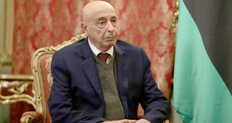 President of the eastern-based Libyan House of Representatives Aguila Saleh attends a meeting in Moscow, Russia November 24, 2020. (REUTERS)