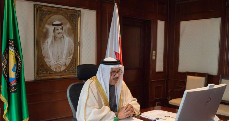 Bahrain's Foreign Minister Abdullatif Al-Zayani holding a virtual meeting with top Gulf Arab officials in the capital Manama, December 27, 2020. (AFP)