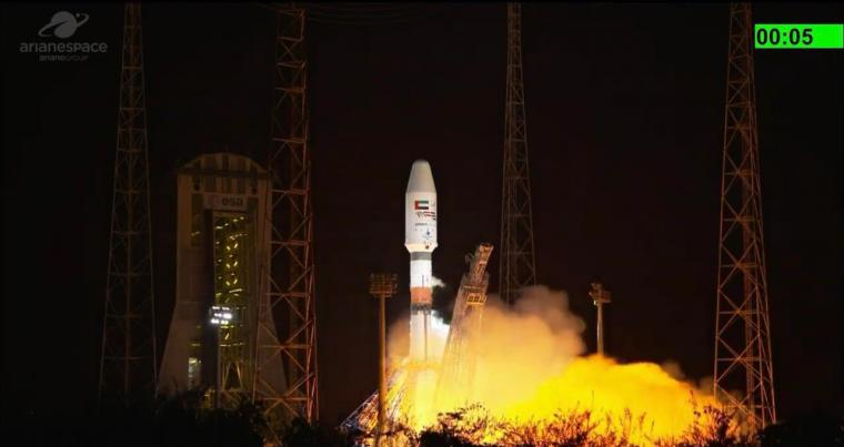Launching of the FalconEye2 satellite from French Guiana aboard the Soyuz rocket. (Twitter)