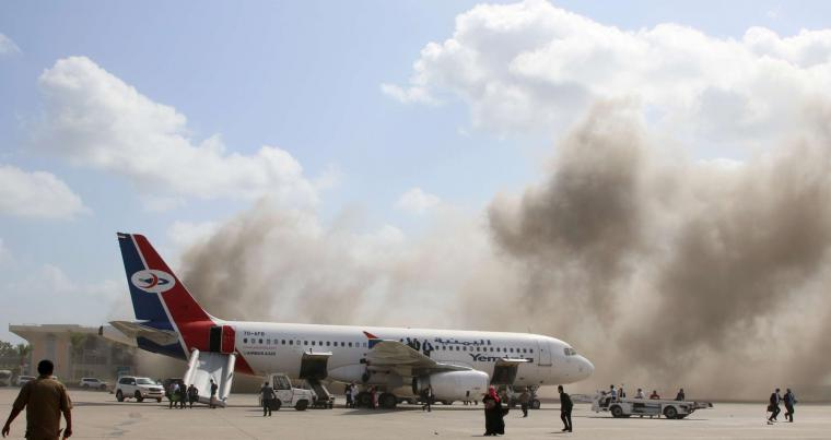 Dust rises after explosions hit Aden airport, upon the arrival of the newly-formed Yemeni government in Aden, Yemen December 30, 2020. (REUTERS)