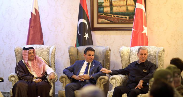 Turkish Defence Minister Hulusi Akar talks with Deputy Defence Minister of Libya's GNA Salahedin al-Namroush and Qatar's Defence Minister Khalid bin Mohamed Al Attiyah in Tripoli, Libya, August 17, 2020. (AFP)