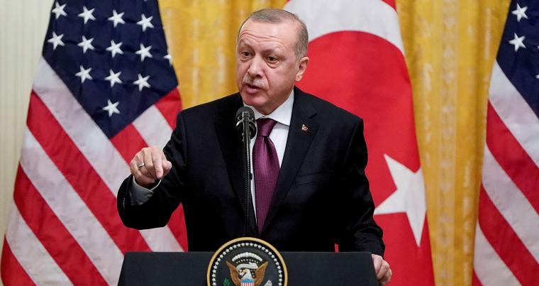Turkish President Recep Tayyip Erdogan holds a joint news conference with US President Donald Trump at the White House in Washington, November 13, 2019. (REUTERS)