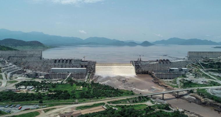 An aerial view of the Grand Ethiopian Renaissance Dam on the Blue Nile River in Guba, north-west Ethiopia. (AFP)